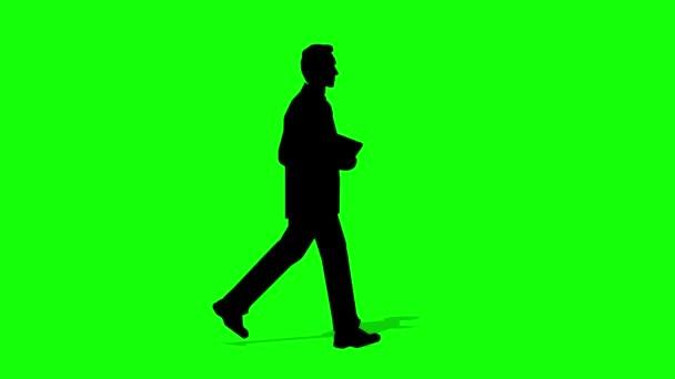 Gehender Silhouette Geschäftsmann Zeichentrickfilm. Schleifenanimation (4K-Video). grüner Hintergrund für transparenten Hintergrund.