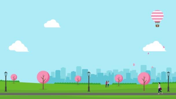 Animation von Spaziergängern im Frühlingspark (Kirschblüten). 4K-Video.