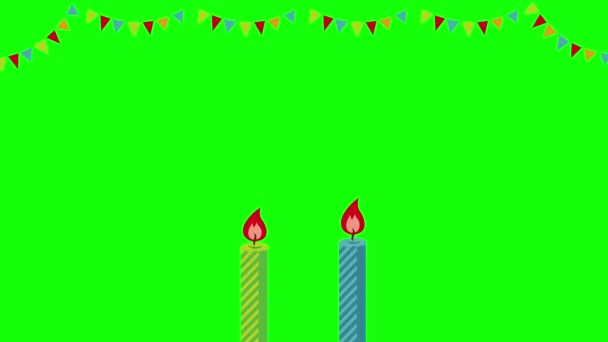 Boldog születésnapot animációs film (4K). Zöld háttér az átlátható használathoz.