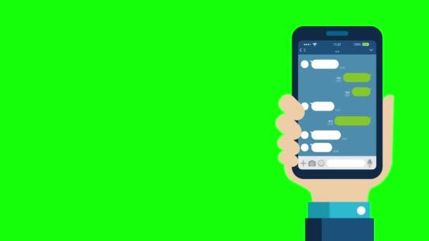 Kézben tartó okostelefon illusztráció film (SNS, Chat app motívum). Zöld háttér az átlátható használathoz.
