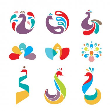 Peacock bird logo icon symbol design icon