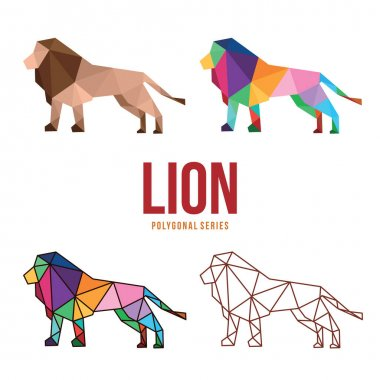 Lion animal zoo low polygonal geometric poly design icon
