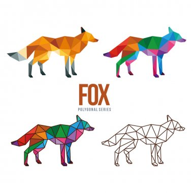 Fox animal low poly geometric polygonal design icon