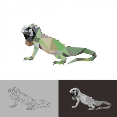 Iguana reptile low poly geometric polygonal design icon