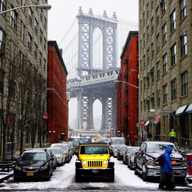 View of the Manhattan Bridge from the street in New York City
