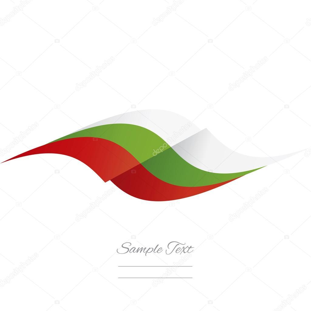 Soyut Bulgar Bayrak Logosu Beyaz Arka Plan şerit Stok Vektör