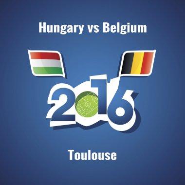 Euro 2016 Hungary vs Belgium blue background