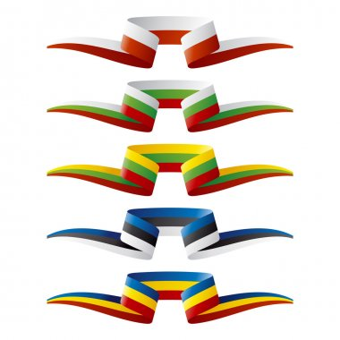 Abstract color East Europe flags ribbon