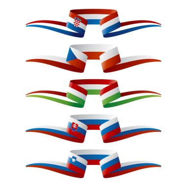 Abstract color South-East Europe flags ribbon