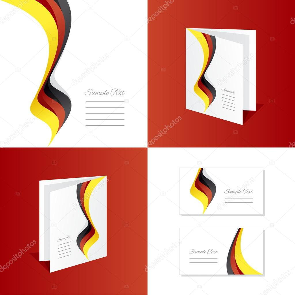 Abstrait Allemagne Drapeau Ruban Brochure Carte De Visite Dossier La Couverture Vecteur Par Simbos
