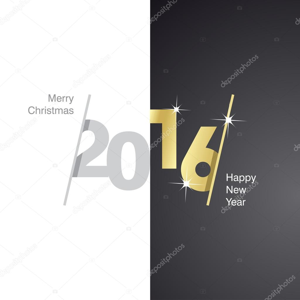 2016 happy new year gray gold black background stock vector