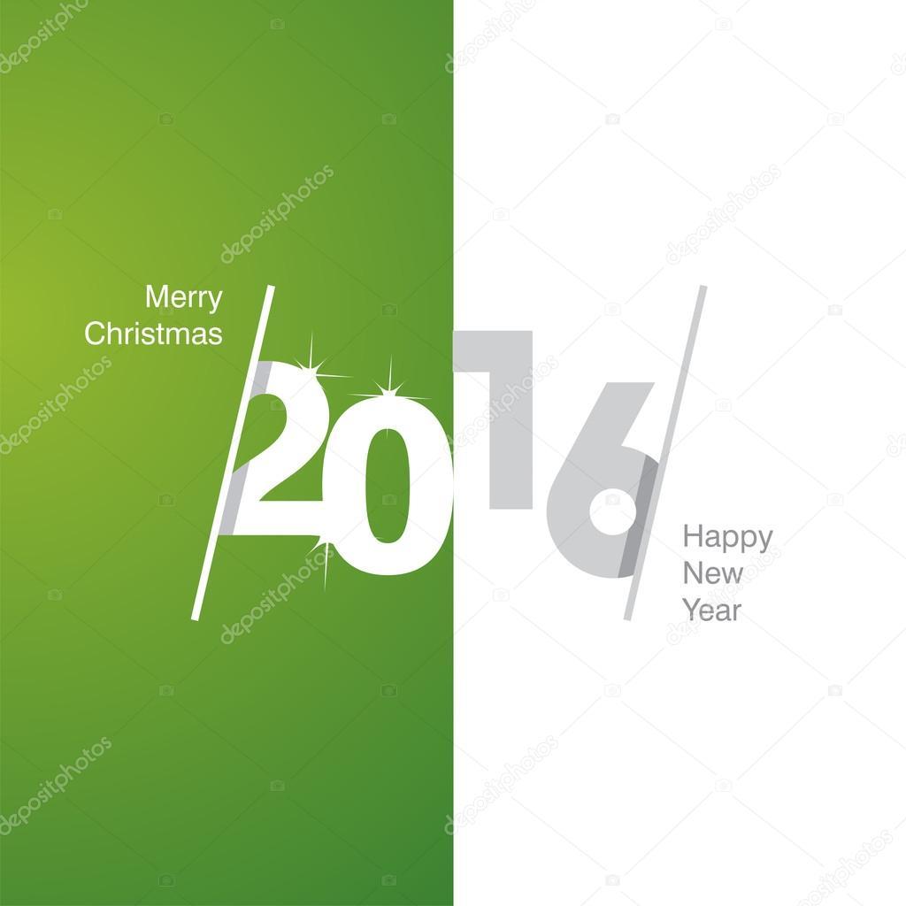 2016 Happy New Year green white gray background