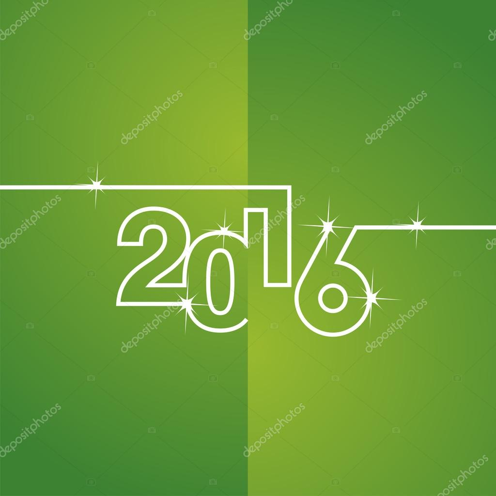 White line 2016 green background vector