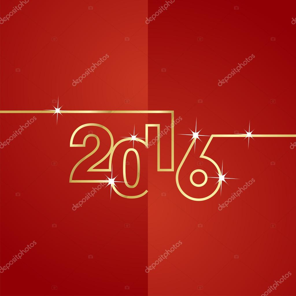 Gold line 2016 red background vector
