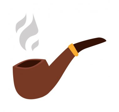 Vector brown smoking pipe.