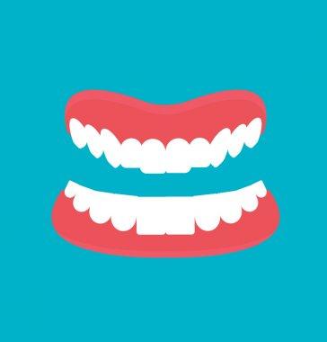 Vector cartoon Dental technology false teeth.