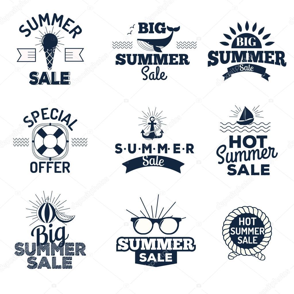 Summer sale logo vector illustration