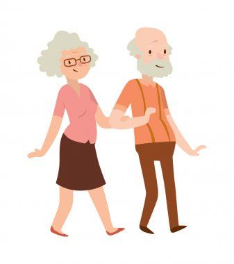 Grandmother and grandfather in modern flat design vector.