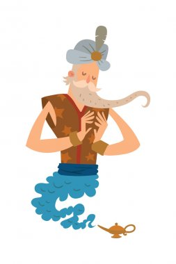 Cartoon djinn old man coming out of a magic lamps. Legend cartoon wizard