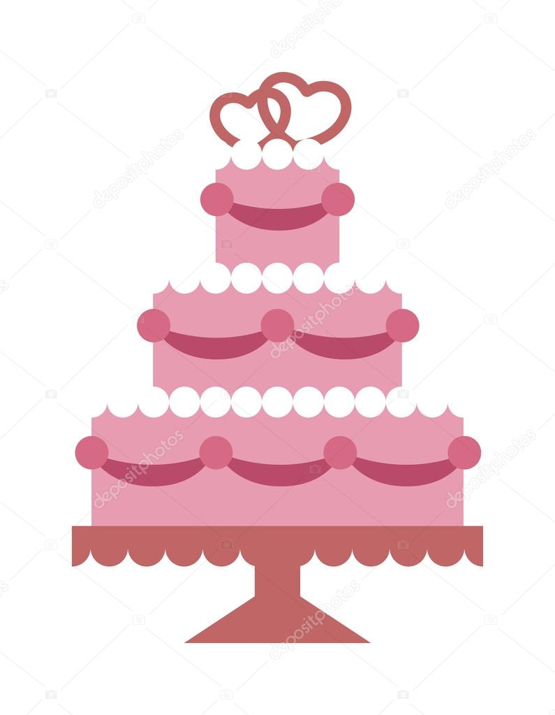 pink wedding cake with hearts and beads flat vector party food