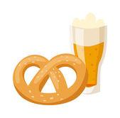 German breakfast, pretzel beer illustration.