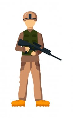 USA troop armed forces man with weapon illustration. US Army soldiers, USA troop in camouflage combat uniform. Flat cartoon style military USA troop. Isolated USA troop illustration stock vector