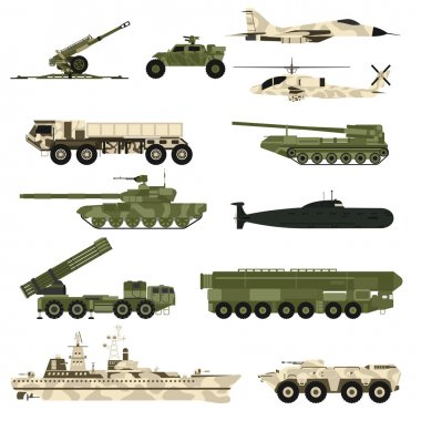 Military technic icon set and armor tanks flat vector illustration.