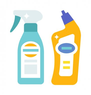 Plastic bottles of cleaning products household chemistry flat vector illustration isolated on white background.