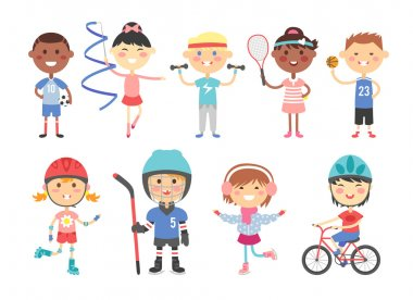 Kids playing various sports games such us hockey, football, gymnastics, fitness, tennis, basketball, roller skating, bike flat vector.