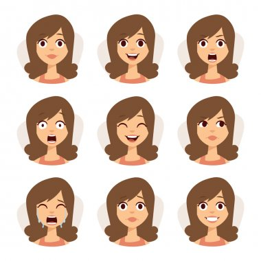 Isolated set of woman avatar expressions face emotions vector illustration.