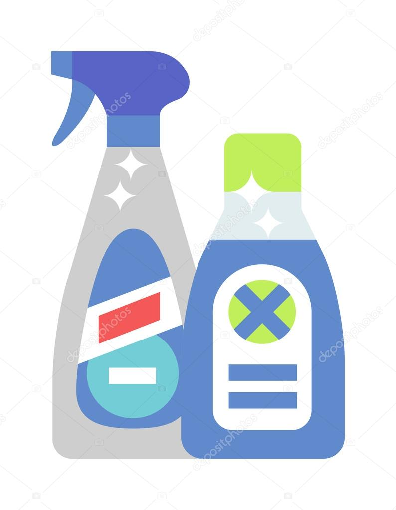 Cleaning product detergent plastic bottles and spray ...