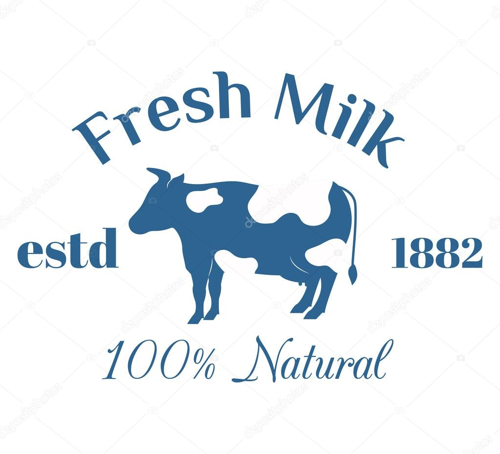 milk cow logo badge vector template some nature drinks