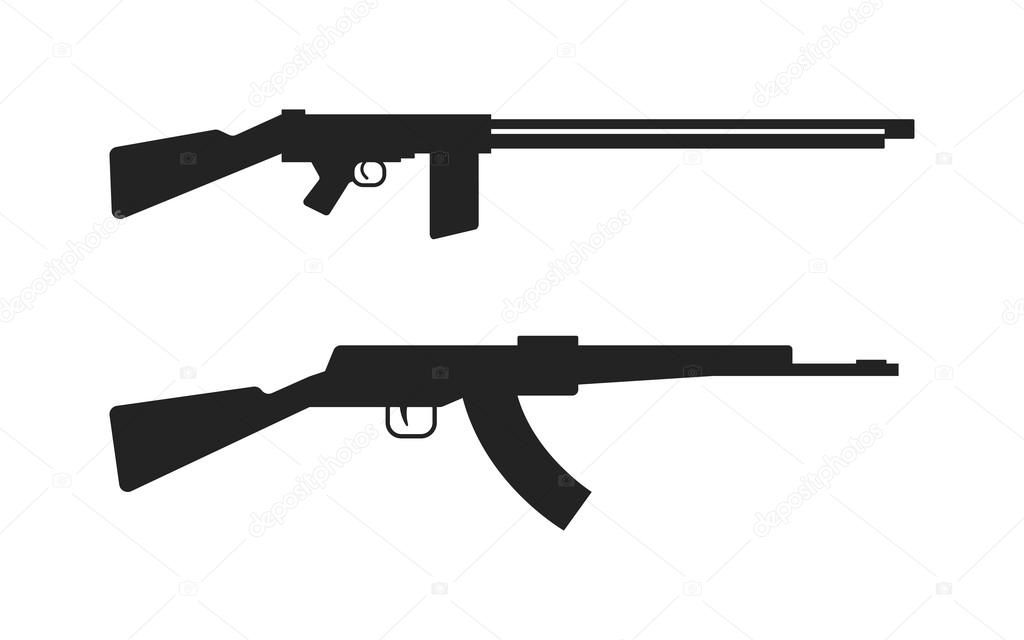 automatic machine gun ak 47 isolated on white black silhouette rh depositphotos com ak47 vector art ak 47 vector image