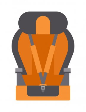 Baby car seats cartoon flat colored vector illustration.