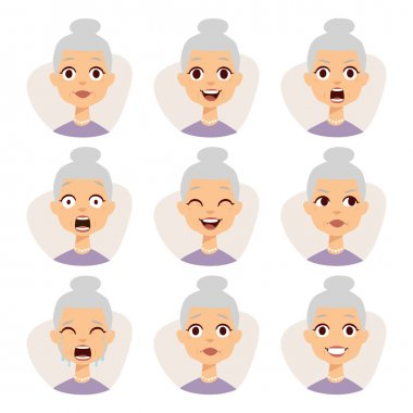 Isolated set of funny granny avatar expressions face emotions vector illustration.