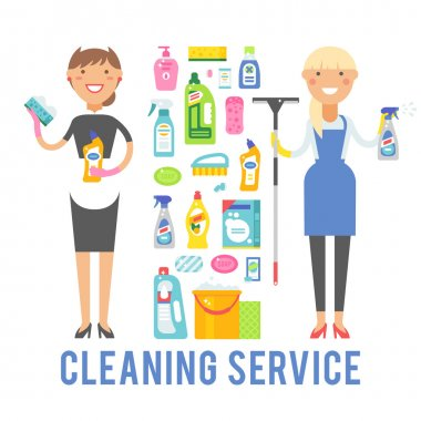 Young smiling cleaner woman service vector isolated over white background.