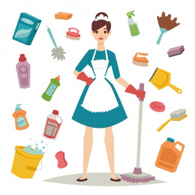 Housewife girl and home cleaning equipment icon in flat style vector illustration.
