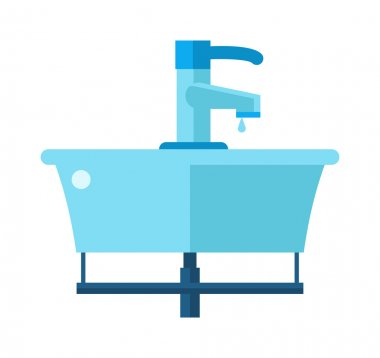 Washbasin bathroom cartoon flat vector illustration.