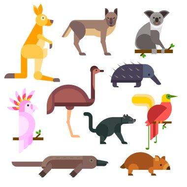 Australia wild animals cartoon vector collection