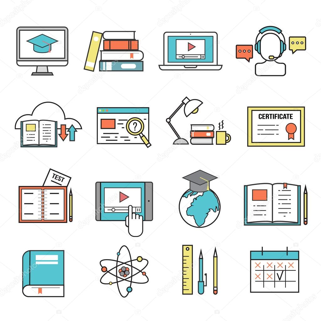 Online Education Ouitline Icons Vector Set Of Distance School And