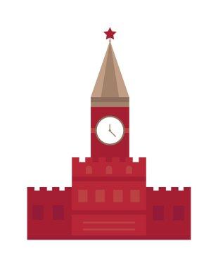 Spasskaya tower in Moscow, Russia flat design Kremlin vector.