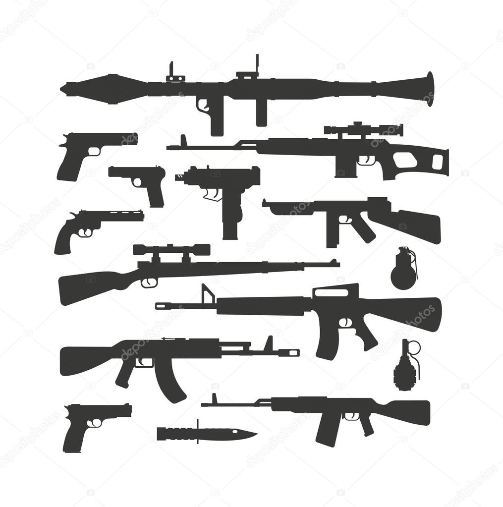 Silhouette army weapons and handgun army silhouette weapons. War rifle army assault silhouette weapons murder. Weapon collection different military automatic gun shot machines silhouette vector. stock vector
