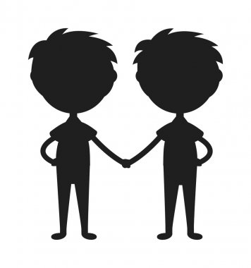 Twins happy kids holding hands boy and girl vector illustration.