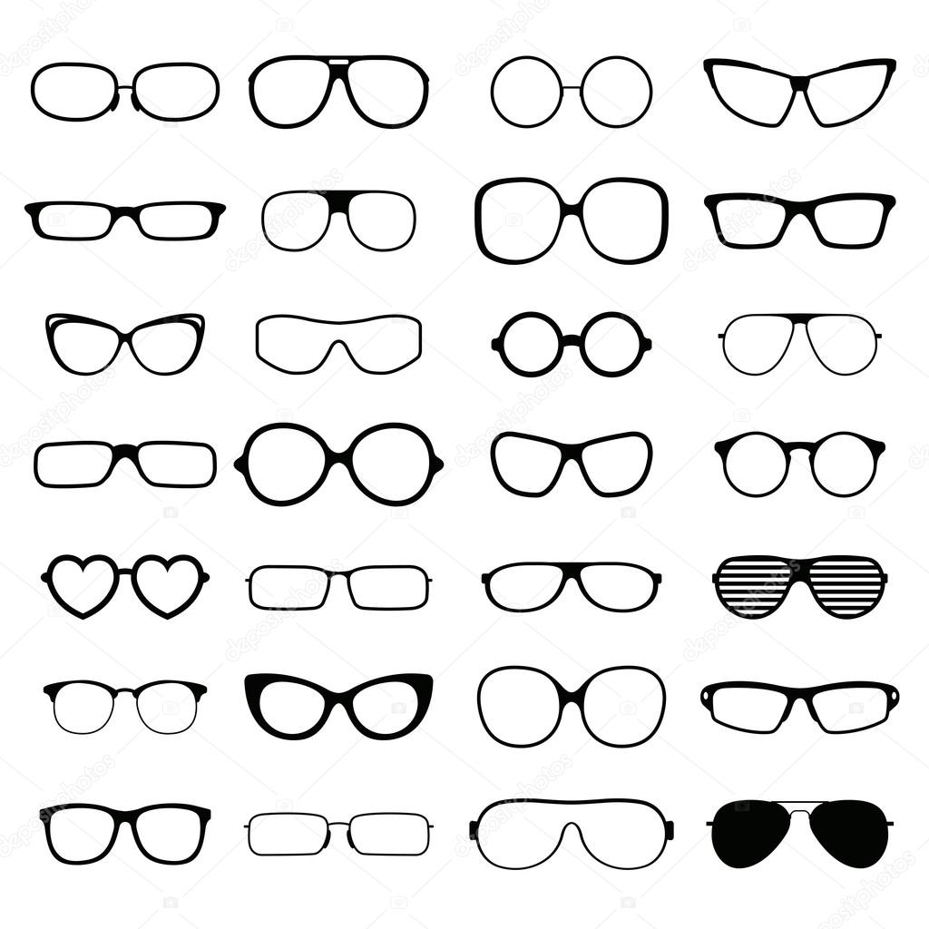 774939aa76af Glasses lens accessory frame collection. Collection various styles of fashion  glasses solid black silhouette vector.