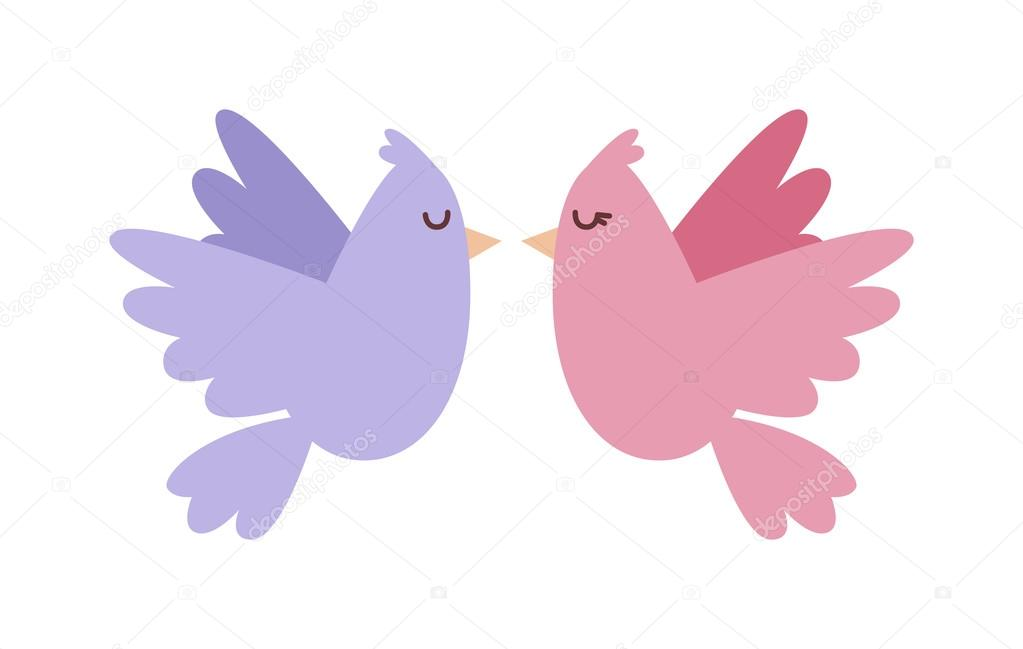 doves couple with hearts vector icon illustration ストックベクター