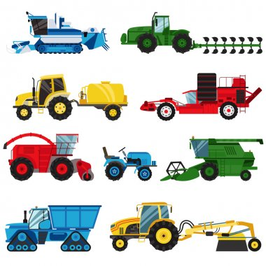 Equipment farm for agriculture machinery combine harvester vector.
