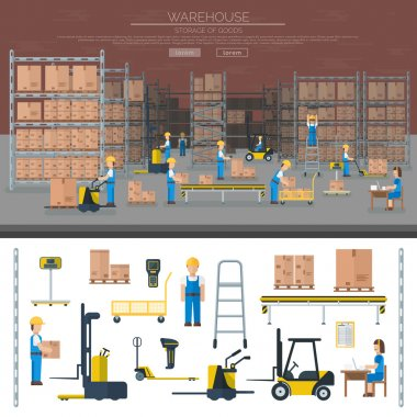 Warehouse worker taking package in shelf logistic industry flat vector banners.