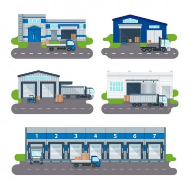 Logistics collection warehouse delivery center, loading trucks, forklifts workers vector.