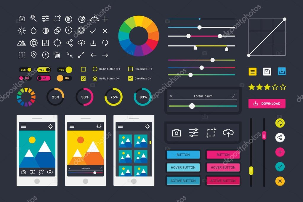 Photographic photo editor app icons UI elements frames camera vector ...