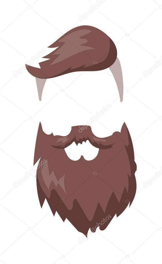 f68e7b89 Hipster fashion men fashion hair and beard vector illustration. — Stock  Vector
